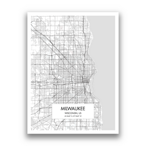Milwaukee Map, 9 Map Colors, 5 Layouts, Milwaukee Map Poster, Map of Milwaukee