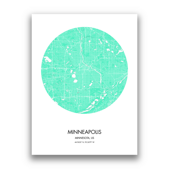 Minneapolis Map, 9 Map Colors, 5 Layouts, Minneapolis Map Poster, Map of Minneapolis