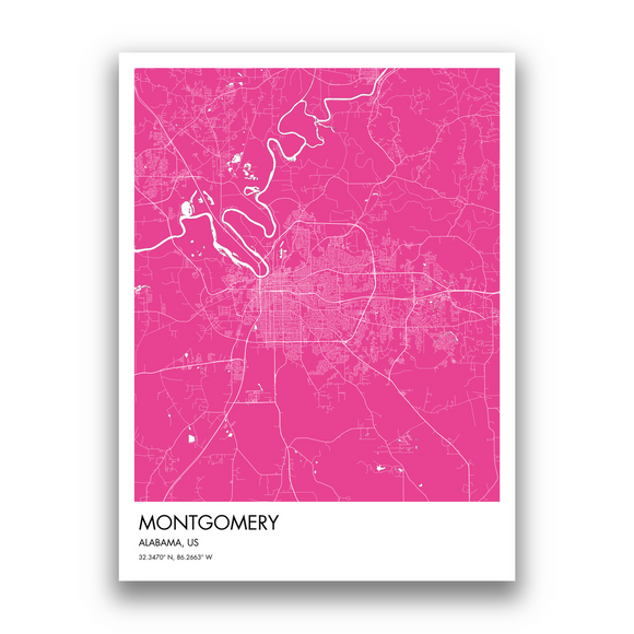 Montgomery Map, 9 Map Colors, 5 Layouts, Montgomery Map Poster, Map of Montgomery
