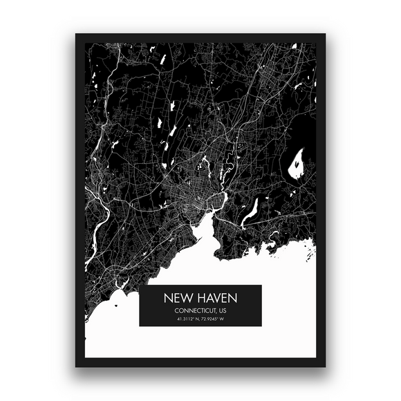 New Haven Map, 9 Map Colors, 5 Layouts, New Haven Map Poster, Map of New Haven