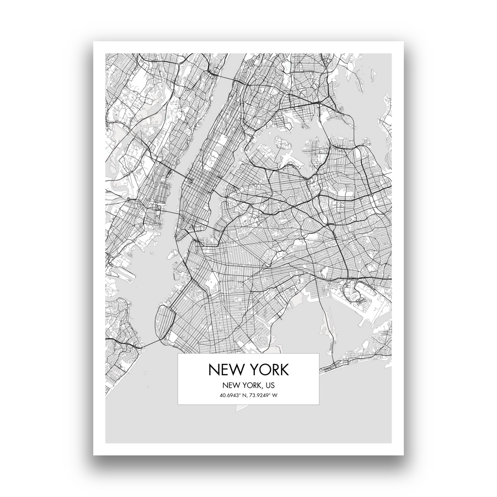 New York Map, 9 Map Colors, 5 Layouts, New York Map Poster, Map of New York
