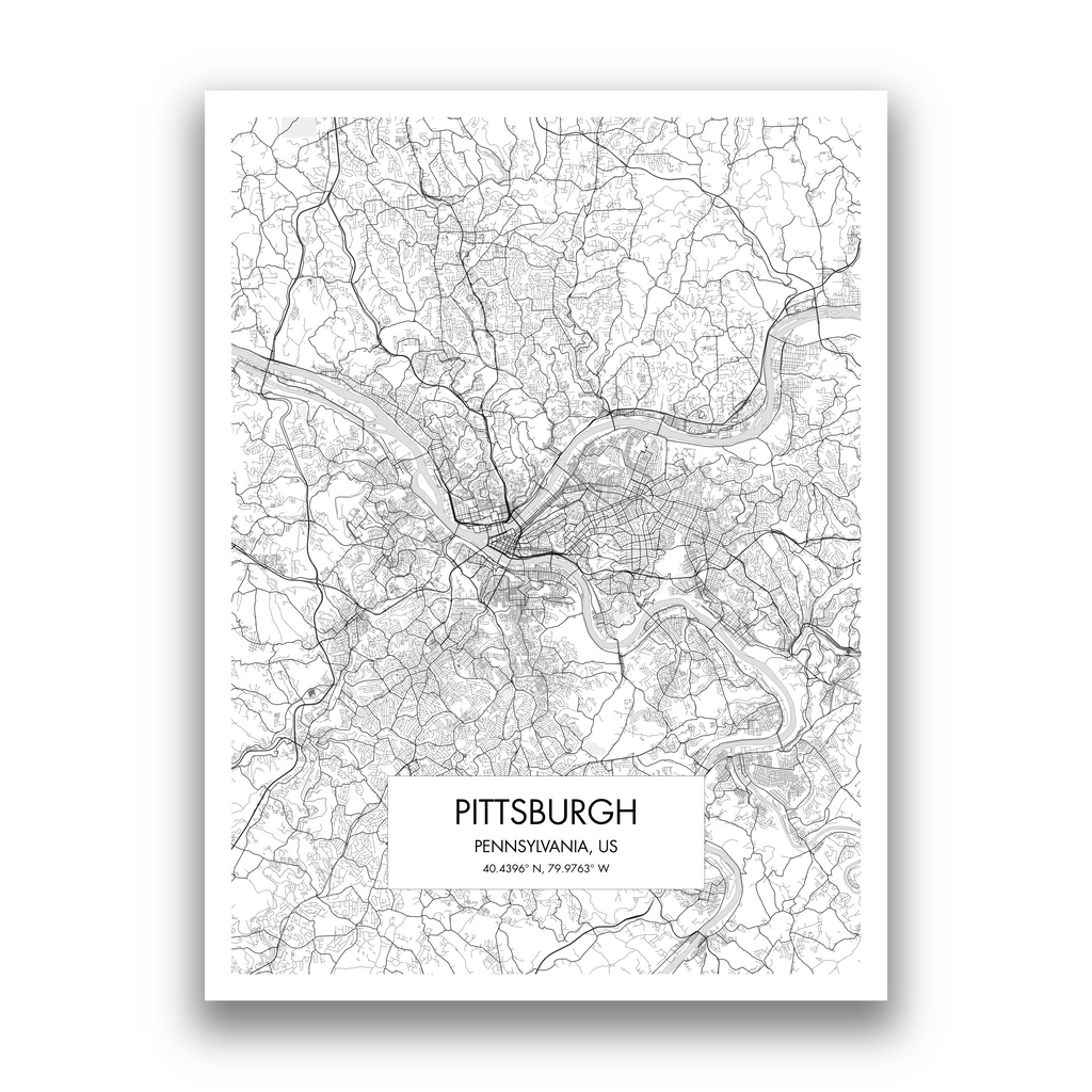 Pittsburgh Map, 9 Map Colors, 5 Layouts, Pittsburgh Map Poster, Map of Pittsburgh