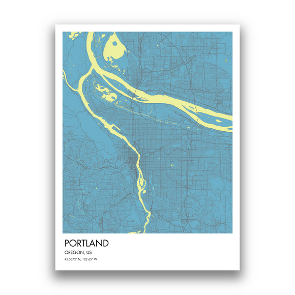 Portland Map, 9 Map Colors, 5 Layouts, Portland Map Poster, Map of Portland