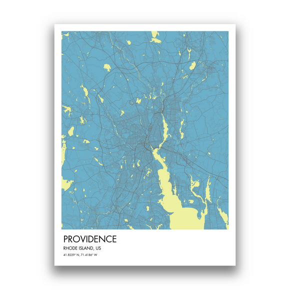Providence Map, 9 Map Colors, 5 Layouts, Providence Map Poster, Map of Providence