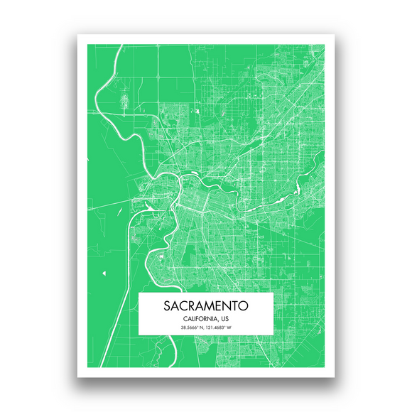 Sacramento Map, 9 Map Colors, 5 Layouts, Sacramento Map Poster, Map of Sacramento