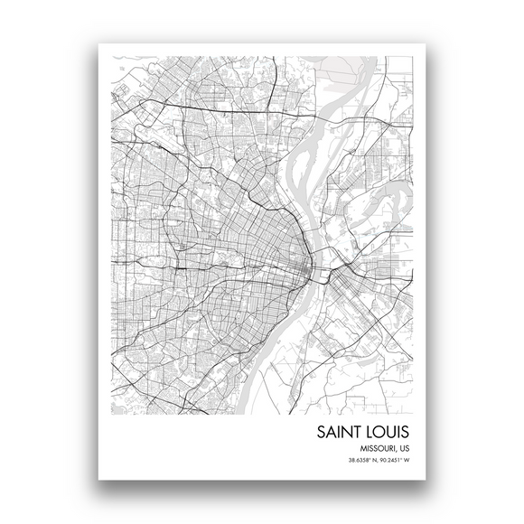 Saint Louis Map, 9 Map Colors, 5 Layouts, Saint Louis Map Poster, Map of Saint Louis