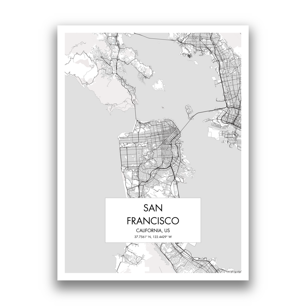 San Francisco Map, 9 Map Colors, 5 Layouts, San Francisco Map Poster, Map of San Francisco