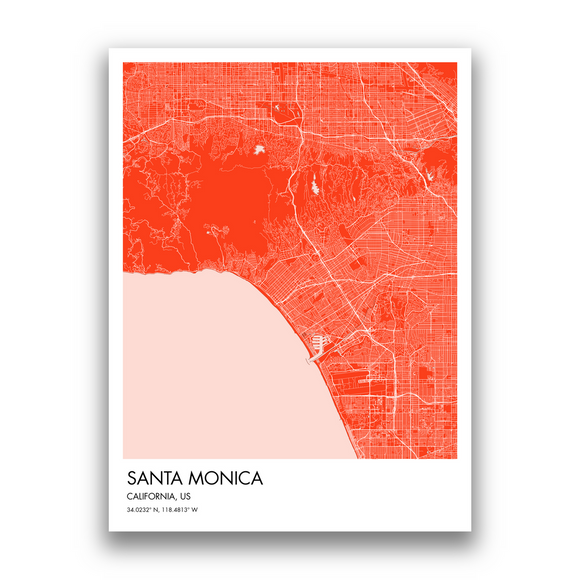 Santa Monica Map, 9 Map Colors, 5 Layouts, Santa Monica Map Poster, Map of Santa Monica