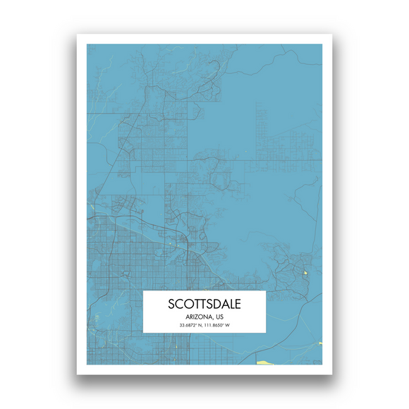 Scottsdale Map, 9 Map Colors, 5 Layouts, Scottsdale Map Poster, Map of Scottsdale