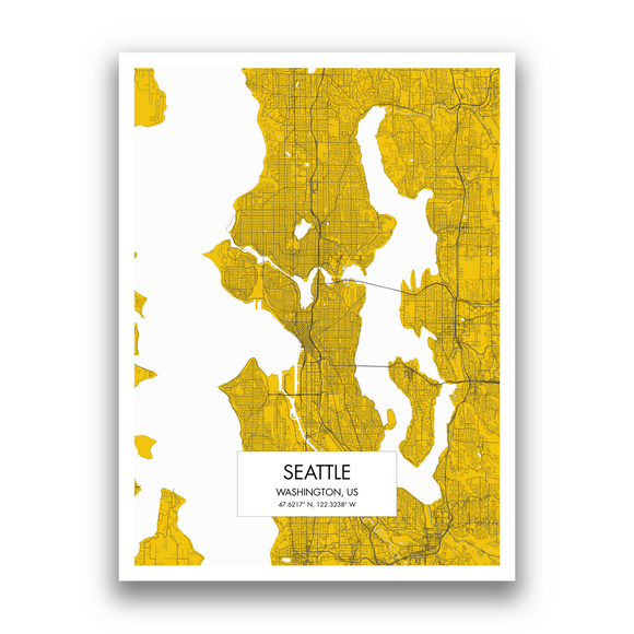 Seattle Map, 9 Map Colors, 5 Layouts, Seattle Map Poster, Map of Seattle