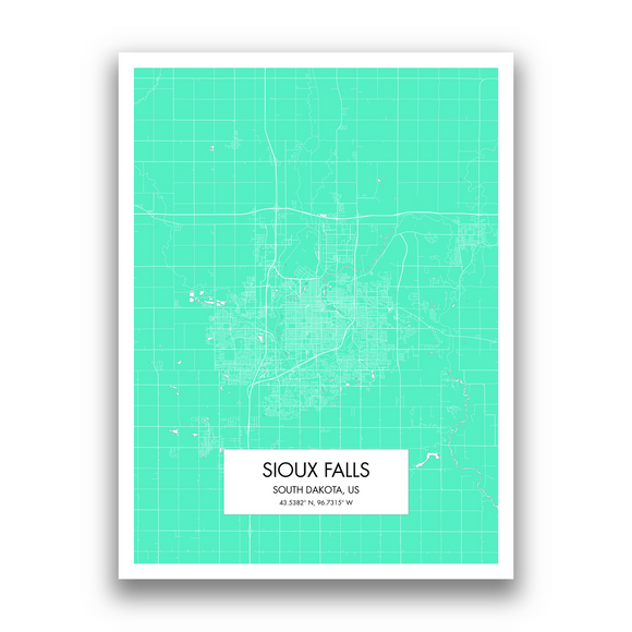Sioux Falls Map, 9 Map Colors, 5 Layouts, Sioux Falls Map Poster, Map of Sioux Falls