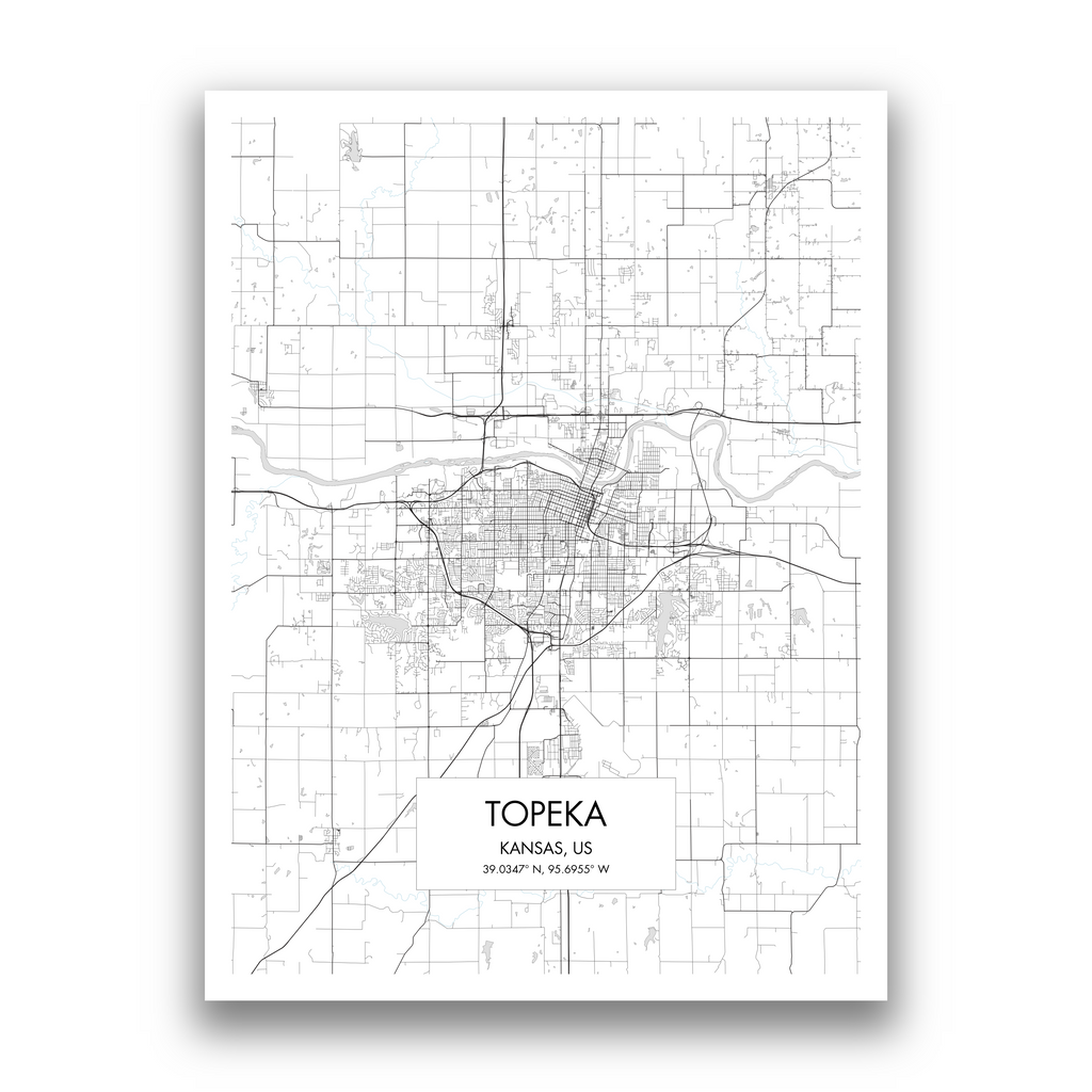 Topeka Map, 9 Map Colors, 5 Layouts, Topeka Map Poster, Map of Topeka