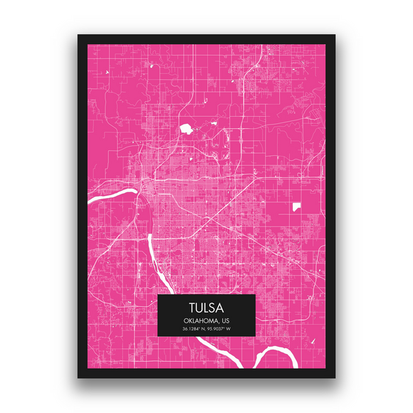 Tulsa Map, 9 Map Colors, 5 Layouts, Tulsa Map Poster, Map of Tulsa