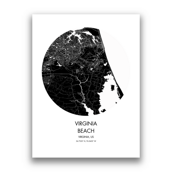 Virginia Beach Map, 9 Map Colors, 5 Layouts, Virginia Beach Map Poster, Map of Virginia Beach