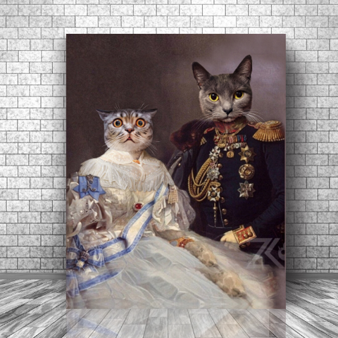LADY BRIDGET & GENERAL HUBERT - MULTI-PET CANVAS (Premium)