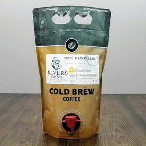 Ready to drink cold brew coffee in 1.5 L to go pouch. Fifty5 Rivers Cold Brew Connection 102