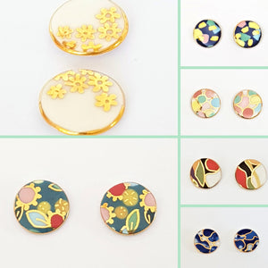 multi coloured large round porcelain studs with gold lustre