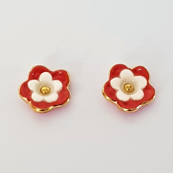 Floral collective studs in red and white