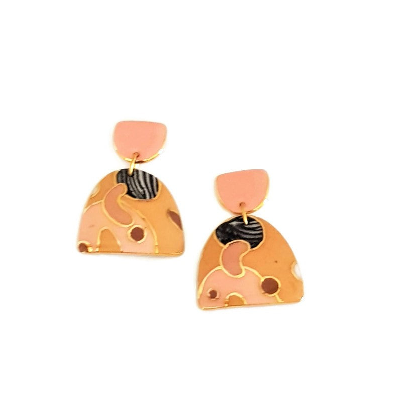 Double drop earrings with coral tops in mustard black and white.