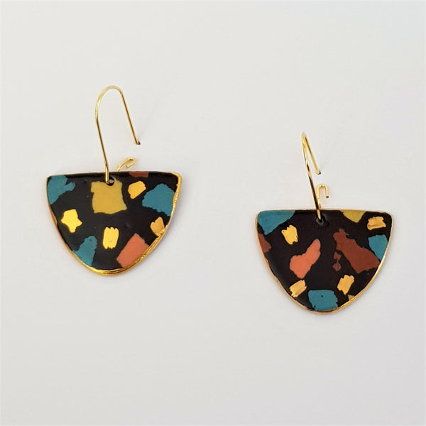 """D"" dangles black terrazzo and autumn tones with gold"