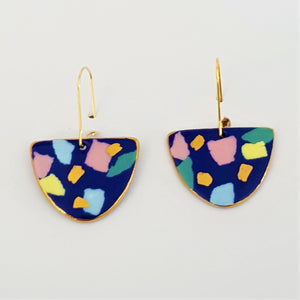 """D"" dangles indigo terrazzo and pastel tones with gold"