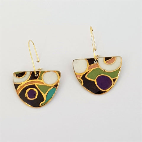 """D"" dangles - olive and black abstract pattern with 22 kt gold linework."