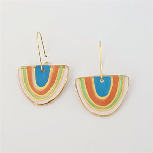 """D"" dangles - rainbow with 22 kt gold linework."