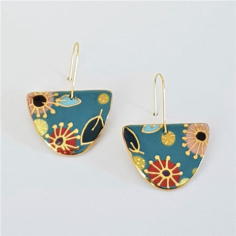 porcelain D dangle earrings- floral design with gold