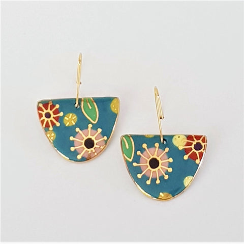 porcelain D dangle earrings- floral design with 22kt gold highlights