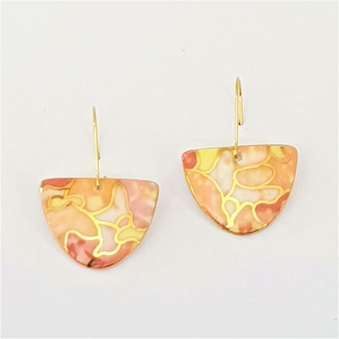 porcelain earrings in warm tones with gold