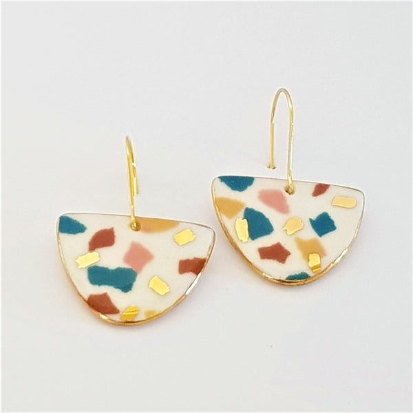 """D"" dangles white terrazzo and autumn tones with gold"