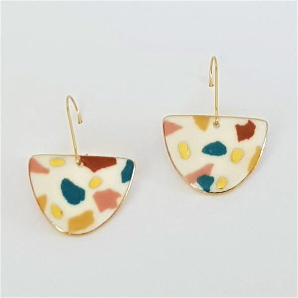 white porcelain earrings with pastel terrazzo effect and gold