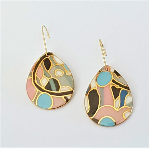 Porcelain drop shaped earrings in pink, blue and grey abstract design with gold linework