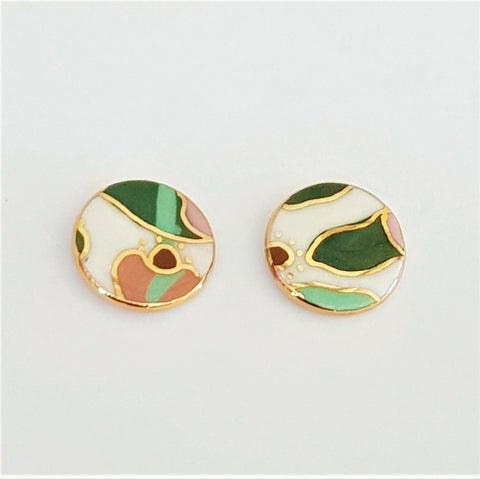 Round studs in abstract floral design