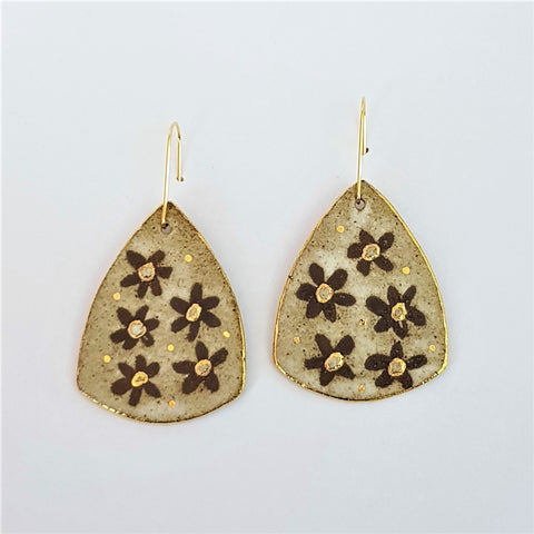 Earthy dark clay triangular large drop earrings with floral design and gold