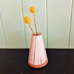 Bud Vase in white with  22kt gold lines and natural clay stripes.