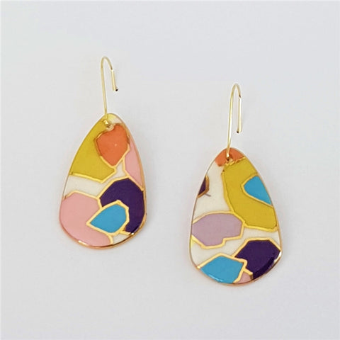 Bright pastel abstract design porcelain earrings with gold