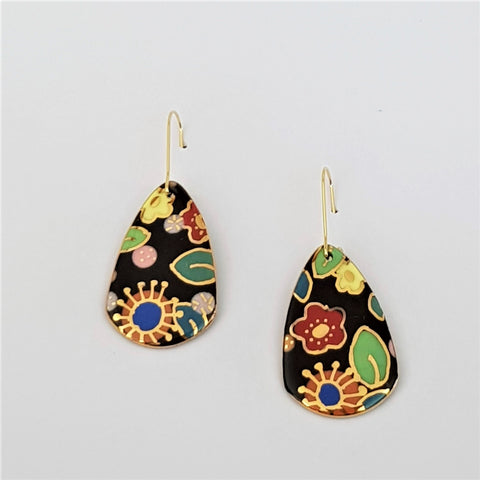 Black floral porcelain earrings with gold