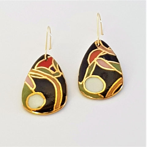 Dangle earrings, black and olive abstract with gold linework