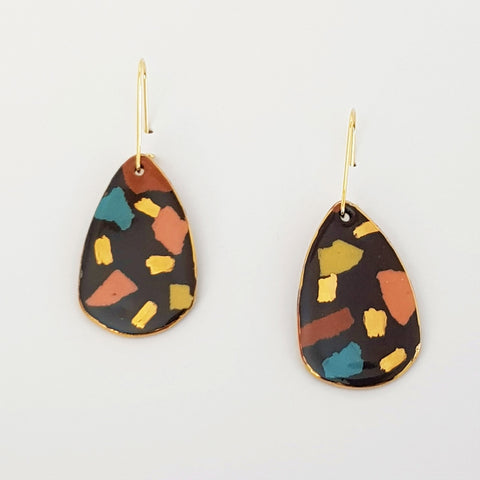 Dangle earrings black terrazzo style with gold
