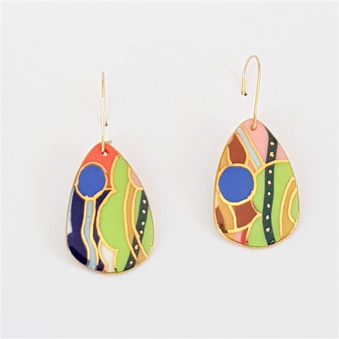 Brightly coloured porcelain dangles with gold details