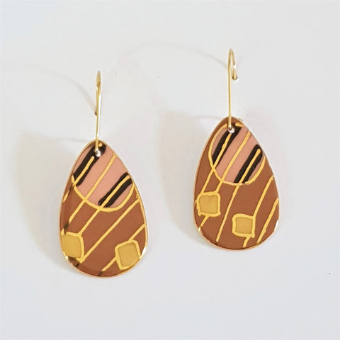 Copy of Porcelain and 22kt gold dangle earrings in earthy tones
