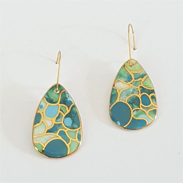porcelain earrings in mermaid colours