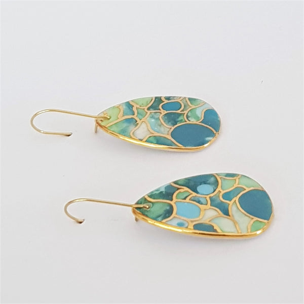 Porcelain dangle earrings in mermaid colours with gold linework