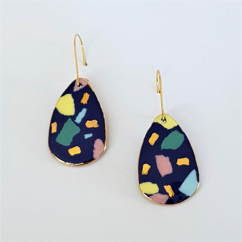 Indigo terrazzo dangle earrings with gold highlights