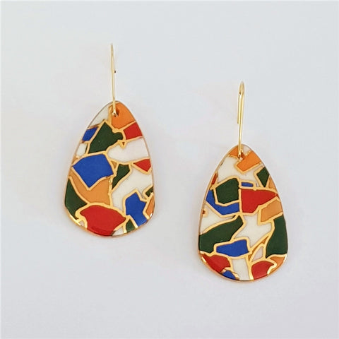 Bright jigsaw pattern dangle earrings with gold