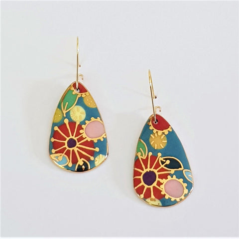 Porcelain dangle earrings with floral design and gold linework