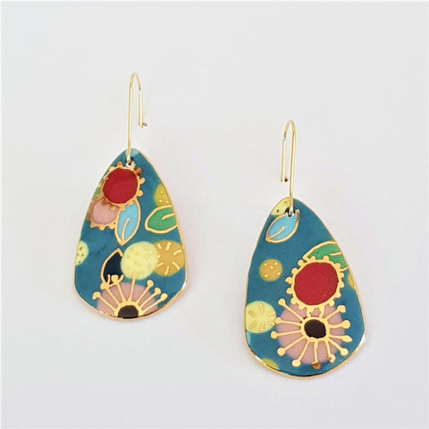 Porcelain dangle earrings with floral design and  22 kt gold linework