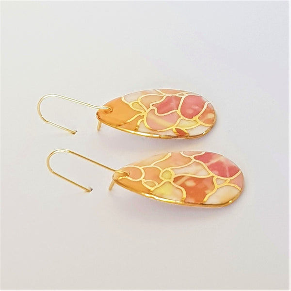 Dangle earrings warm tones with gold linework