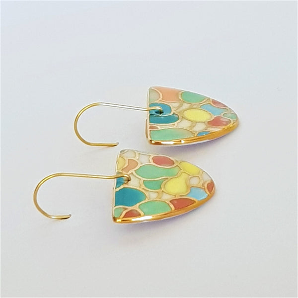 Bright pastel porcelain D dangle earrings with gold